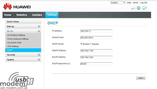 dhcp вкладка в налаштуваннях huawei ec315