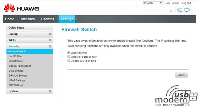настройки безобасности Firewall huawei ec315