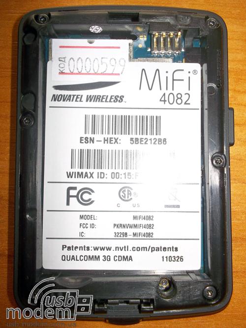 Наклейка на батарее Novatel MiFi 4082  в увеличеном виде