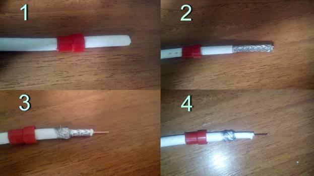 зачистка кабеля для сборки антенны
