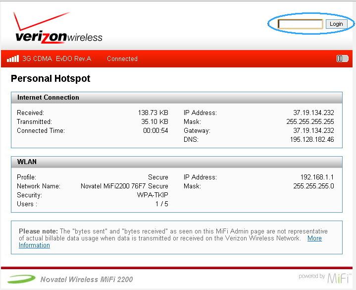 web интерфейс (админ-панель) роутера Novatel Mi Fi 2200