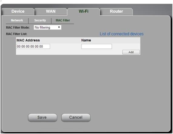 mac filter в роутере sierra w801