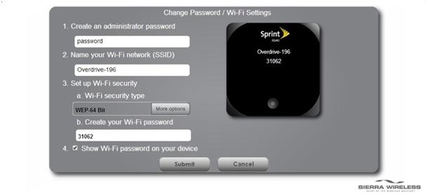 поля где можно изменить название точки доступа и пароль к ней sierra w801