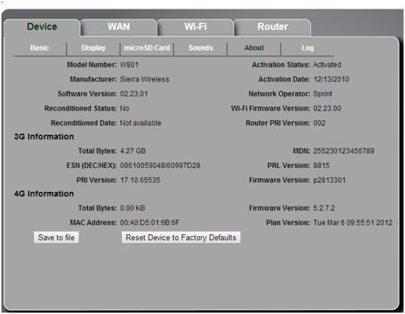 техническая информация об устройстве в частности версия прошивки