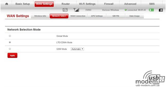 выбор сети оператора cdma gsm lte в роутере zte 890l