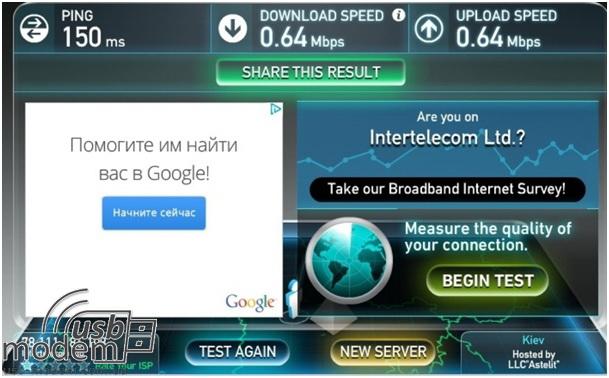 результаты измерения скорости Интертелеком с помощью novatel mifi 4620l