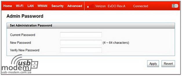 изменение пароля администратора в роутере novatel 4510l