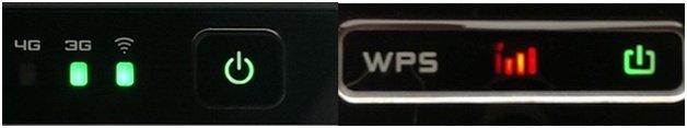 кнопки, световая индикация работы 3g роутера