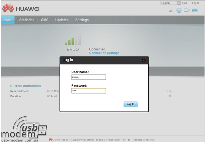 панель администратора Huawei EC5321u-1