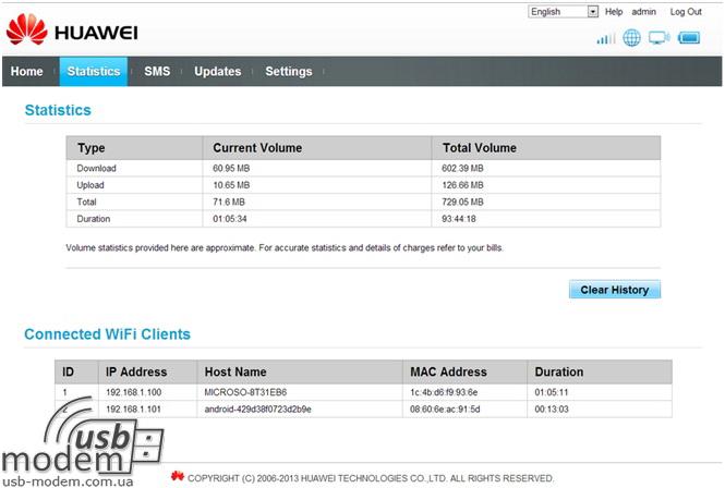 меню получения детальной статистики Huawei EC5321u-1